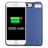 Smart Power Bank Battery Case 6000mAh with Selfie LED Light for iPhone 8 Plus / 7 Plus / 6S Plus / 6 Plus - Blue