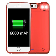 Smart Power Bank Battery Case 6000mAh with Selfie LED Light for iPhone 8 Plus / 7 Plus / 6S Plus / 6 Plus - Red