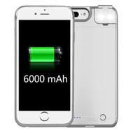 Smart Power Bank Battery Case 6000mAh with Selfie LED Light for iPhone 8 Plus / 7 Plus / 6S Plus / 6 Plus - White
