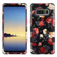 Military Grade Certified TUFF Image Hybrid Armor Case for Samsung Galaxy Note 8 - Red and White Roses