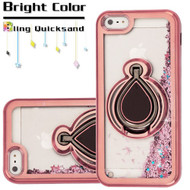 Electroplating Quicksand Glitter Case with Smart Loop Ring Holder for iPhone SE / 5S / 5 - Rose Gold