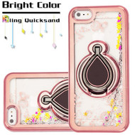 Electroplating Quicksand Glitter Case with Smart Loop Ring Holder for iPhone SE / 5S / 5 - Rose Gold Silver