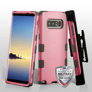 Military Grade Certified TUFF Hybrid Armor Case with Holster for Samsung Galaxy Note 8 - Pearl Pink Iron Grey
