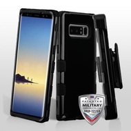 Military Grade Certified TUFF Hybrid Armor Case with Holster for Samsung Galaxy Note 8 - Jet Black
