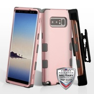 Military Grade Certified TUFF Hybrid Armor Case with Holster for Samsung Galaxy Note 8 - Rose Gold Iron Grey