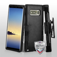 Military Grade Certified TUFF Hybrid Armor Case with Holster for Samsung Galaxy Note 8 - Black
