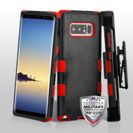 Military Grade Certified TUFF Hybrid Armor Case with Holster for Samsung Galaxy Note 8 - Black Red