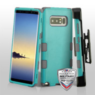 Military Grade Certified TUFF Hybrid Armor Case with Holster for Samsung Galaxy Note 8 - Teal Green Iron Grey