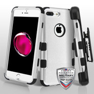 Military Grade Certified TUFF Hybrid Armor Case with Holster for iPhone 8 Plus / 7 Plus - Silver