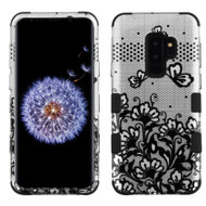 Military Grade Certified TUFF Image Hybrid Armor Case for Samsung Galaxy S9 Plus - Lace Flowers Black