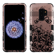 Military Grade Certified TUFF Image Hybrid Armor Case for Samsung Galaxy S9 Plus - Lace Flowers Rose Gold