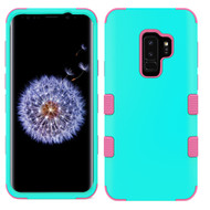 Military Grade Certified TUFF Hybrid Armor Case for Samsung Galaxy S9 Plus - Teal Green Electric Pink 048