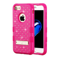 Military Grade Certified TUFF Diamond Hybrid Armor Case with Stand for iPhone 8 / 7 / 6S / 6 - Hot Pink 254