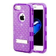 Military Grade Certified TUFF Diamond Hybrid Armor Case with Stand for iPhone 8 / 7 / 6S / 6 - Purple 262