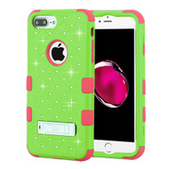 Military Grade Certified TUFF Diamond Hybrid Case with Stand for iPhone 8 Plus / 7 Plus / 6S Plus / 6 Plus - Green Pink