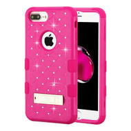 Military Grade TUFF Diamond Hybrid Armor Case with Stand for iPhone 8 Plus / 7 Plus / 6S Plus / 6 Plus - Hot Pink 254
