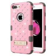 Military Grade Certified TUFF Diamond Hybrid Case with Stand for iPhone 8 Plus / 7 Plus / 6S Plus / 6 Plus - Pink Grey