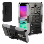 Advanced Armor Hybrid Kickstand Case with Holster for LG Aristo / Fortune / K8 2017 / Phoenix 3 - Black Grey