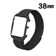 2-IN-1 Aluminum Bumper Case and Magnetic Stainless Steel Mesh Watch Band for Apple Watch 38mm - Black