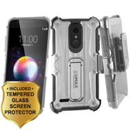 Heavy Duty Dual Layer Hybrid Armor Case with Holster and Tempered Glass Screen Protector for LG K30 - Silver