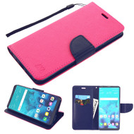 Diary Leather Wallet Case for LG Stylo 4 - Hot Pink Navy Blue