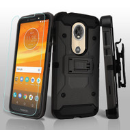 3-IN-1 Kinetic Hybrid Armor Case with Holster and Tempered Glass Screen Protector for Motorola Moto E5 Plus - Black