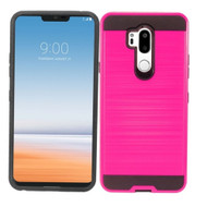 Brushed Coated Hybrid Armor Case for LG G7 ThinQ - Hot Pink