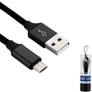 Premium Braided Micro USB Data Sync and Charging Cable - Black