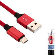 Premium Braided Micro USB Data Sync and Charging Cable - Red