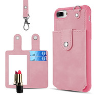 Vintage Leather Wallet with Detachable Card Case and Hand Strap for iPhone 8 Plus / 7 Plus / 6S Plus / 6 Plus - Pink