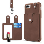 Vintage Leather Wallet with Detachable Card Case and Hand Strap for iPhone 8 Plus / 7 Plus / 6S Plus / 6 Plus - Brown