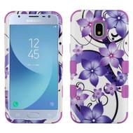 Military Grade Certified TUFF Image Hybrid Armor Case for Samsung Galaxy J3 (2018) - Purple Hibiscus Flower Romance