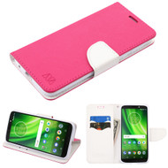 Diary Leather Wallet Case for Motorola Moto G6 Play / G6 Forge - Hot Pink White