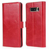 Genuine Leather Executive Wallet Case for Samsung Galaxy Note 8 - Red