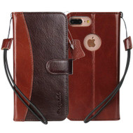 Genuine Calf Leather Executive Wallet Case for iPhone 8 Plus / 7 Plus - Dark Brown