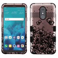 Military Grade Certified TUFF Image Hybrid Armor Case for LG Stylo 4 - Lace Flowers Rose Gold