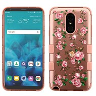 Military Grade Certified TUFF Image Hybrid Armor Case for LG Stylo 4 - Pink Roses Rose Gold