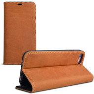 Premium Genuine Leather Executive Wallet Case for iPhone 8 / 7 - Brown