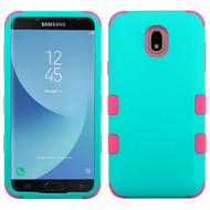 Military Grade Certified TUFF Hybrid Armor Case for Samsung Galaxy J7 (2018) - Teal Green Electric Pink