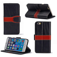 Genuine Leather Handmade Wallet Case for iPhone 6 / 6S - Black Brown