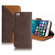 Genuine Buffalo Hide Leather Wallet Folio Case for iPhone 6 Plus / 6S Plus - Brown