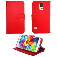 Genuine Leather Executive Wallet Case for Samsung Galaxy S5 - Red