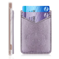 Adhesive Dual Slot Leather Card Pocket Pouch - Light Purple