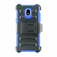 Advanced Armor Hybrid Kickstand Case + Holster + Tempered Glass Screen Protector for Samsung Galaxy J3 (2018) - Blue