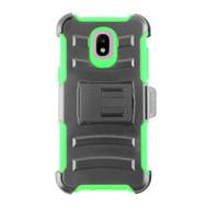 Advanced Armor Hybrid Kickstand Case + Holster + Tempered Glass Screen Protector for Samsung Galaxy J3 (2018) - Green