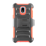 Advanced Armor Hybrid Kickstand Case + Holster + Tempered Glass Screen Protector for Samsung Galaxy J3 (2018) - Red