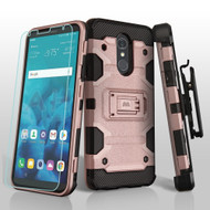 Military Grade Certified Storm Tank Hybrid Case + Holster + Tempered Glass Screen Protector for LG Stylo 4 - Rose Gold