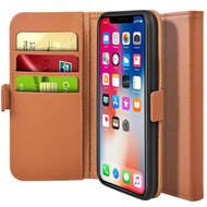 Genuine Leather Flip Folio Wallet Case for iPhone X - Brown