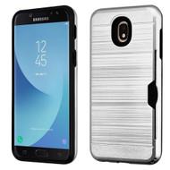 ID Card Slot Hybrid Case for Samsung Galaxy J7 (2018) - Silver