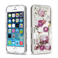 TUFF Panoview Diamante Transparent Hybrid Case for iPhone SE / 5S / 5 - Roses Silver